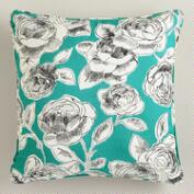 Aqua Rosie Throw Pillow