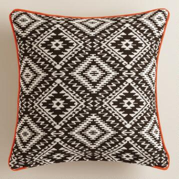 Black and White Geometric Throw Pillow