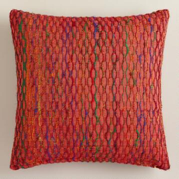 Burnt Orange Honeycomb Throw Pillow