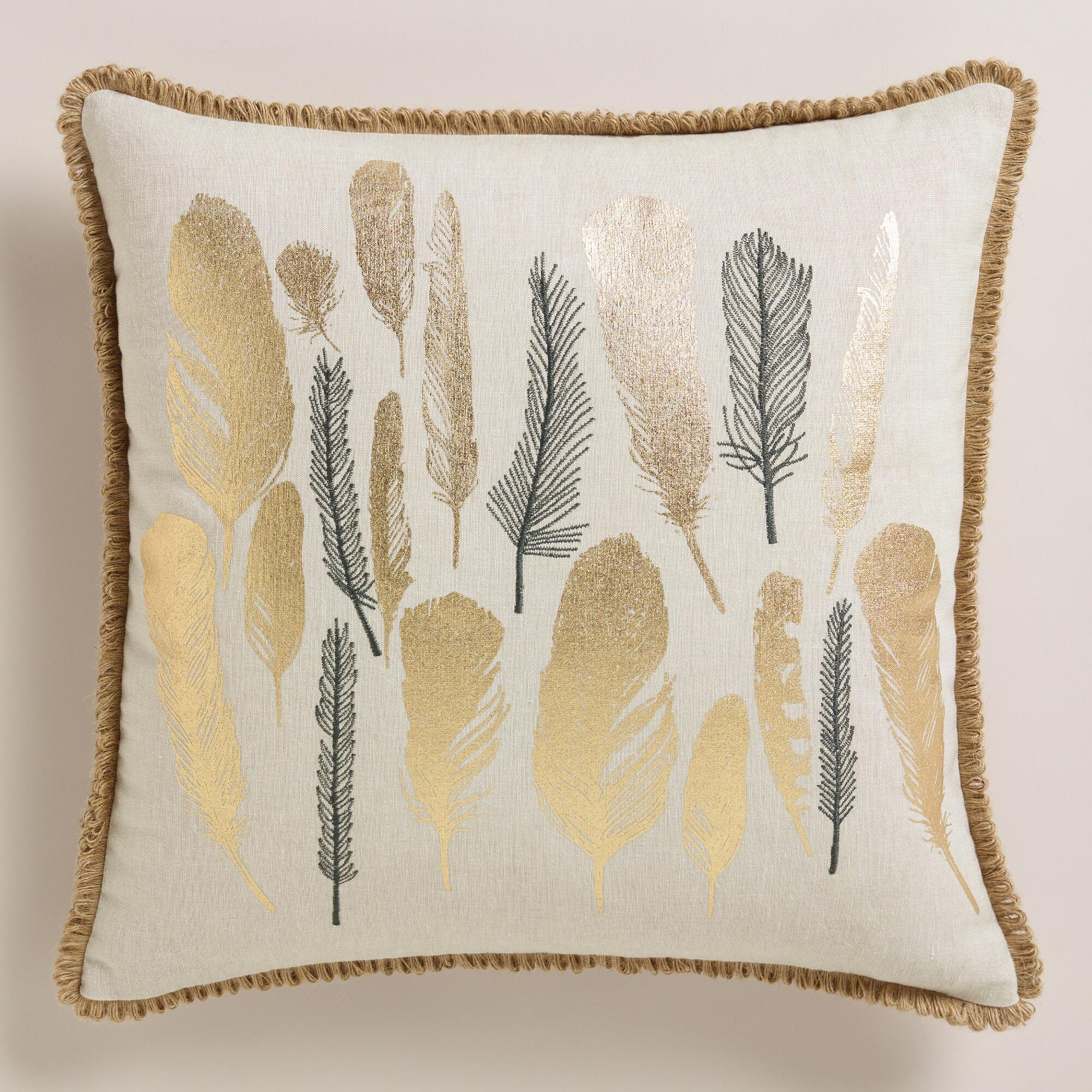 Decorative Pillows Feather : Metallic and Embroidered Feather Throw Pillow World Market