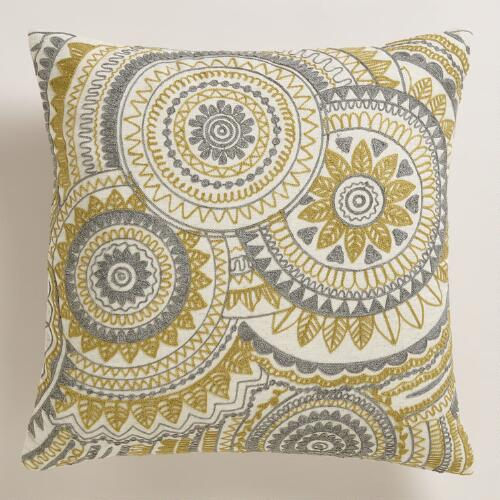 Throw Pillows Groupon : Yellow and Gray Abstract Throw Pillow World Market