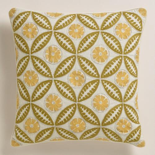 Yellow and Green Geometric Tile Throw Pillow