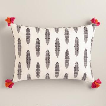 Feathers Printed Lumbar Pillow