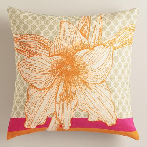 Coral Hibiscus Flower Throw Pillow