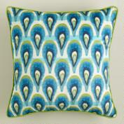 Peacock Blue Printed Velvet Pillow