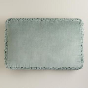 Sea Green Velvet Crimp Oversized Lumbar Pillow
