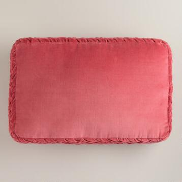 Oversized Coral Velvet Crimp Lumbar Pillow