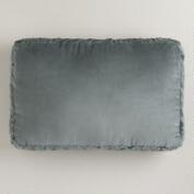 Oversized Gray Velvet Crimp Lumbar Pillow