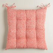 Orange and Red Chevron Chair Cushion