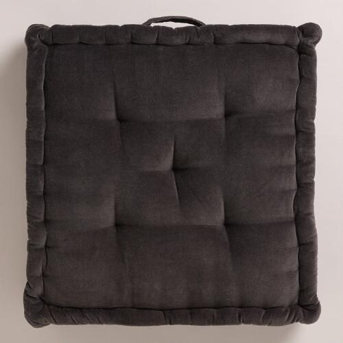 Gray Velvet Floor Cushion