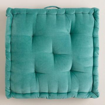 Aqua Velvet Floor Cushion