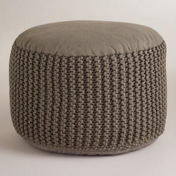 Gray Indoor-Outdoor Pouf