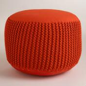 Coral Orange Indoor-Outdoor Pouf