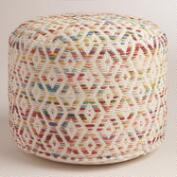 Multicolor Diamond Wool Pouf