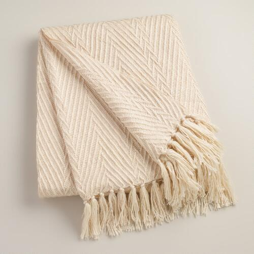 Ivory Herringbone Oversized Throw