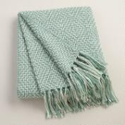 Aqua Two-Tone Geometric Throw