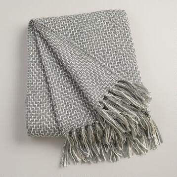 Gray Two-Tone Geometric Throw