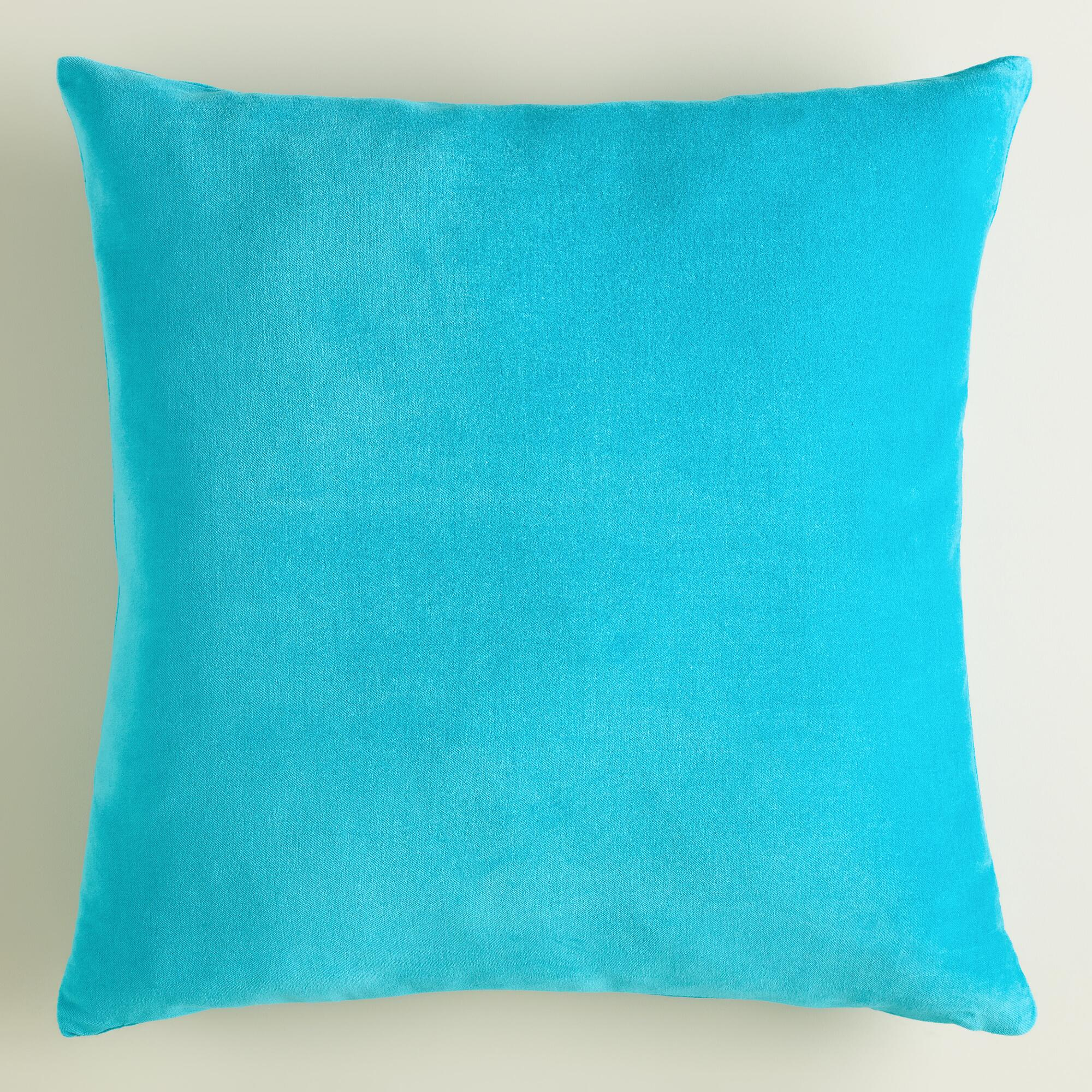 Peacock Blue Throw Pillow : Large Peacock Blue Velvet Throw Pillow World Market