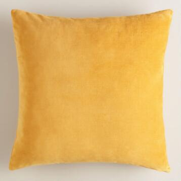 Mustard Yellow Velvet Throw Pillow