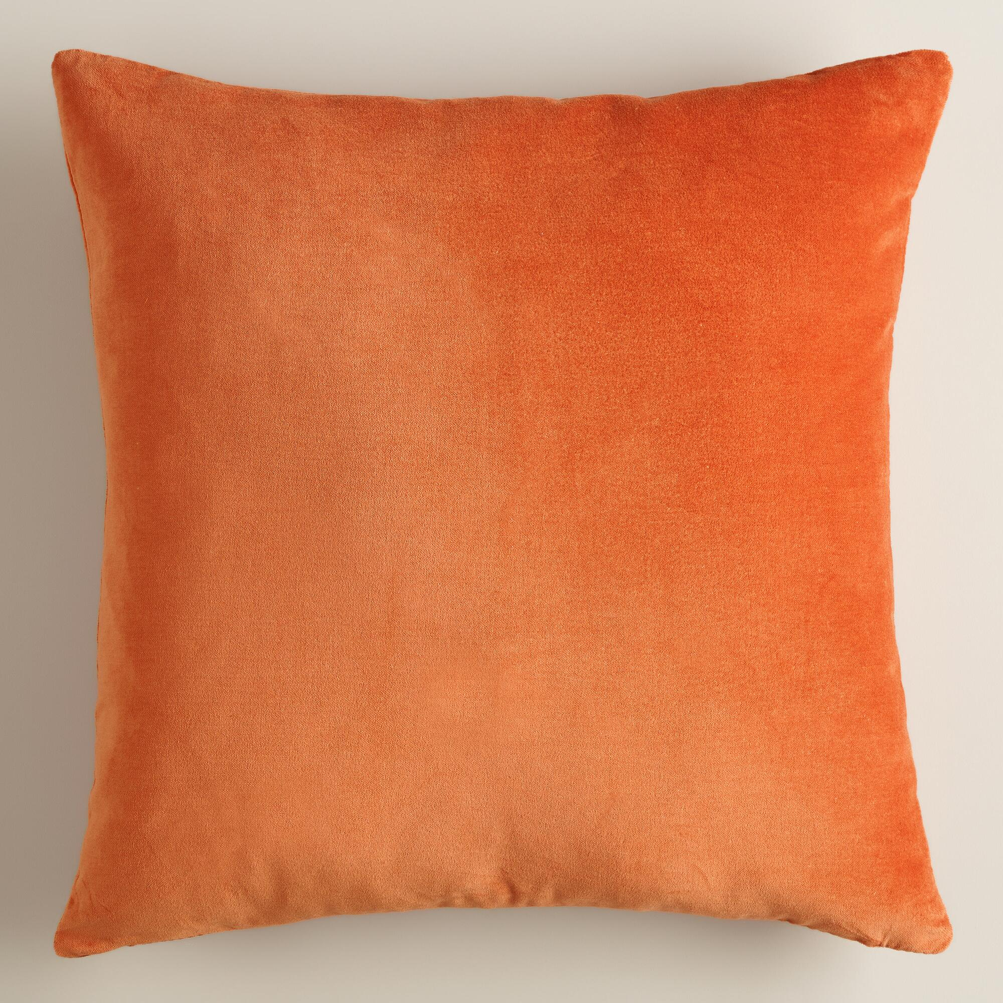 Throw Pillows With Orange : Burnt Orange Velvet Throw Pillow World Market