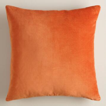 Burnt Orange Velvet Throw Pillow