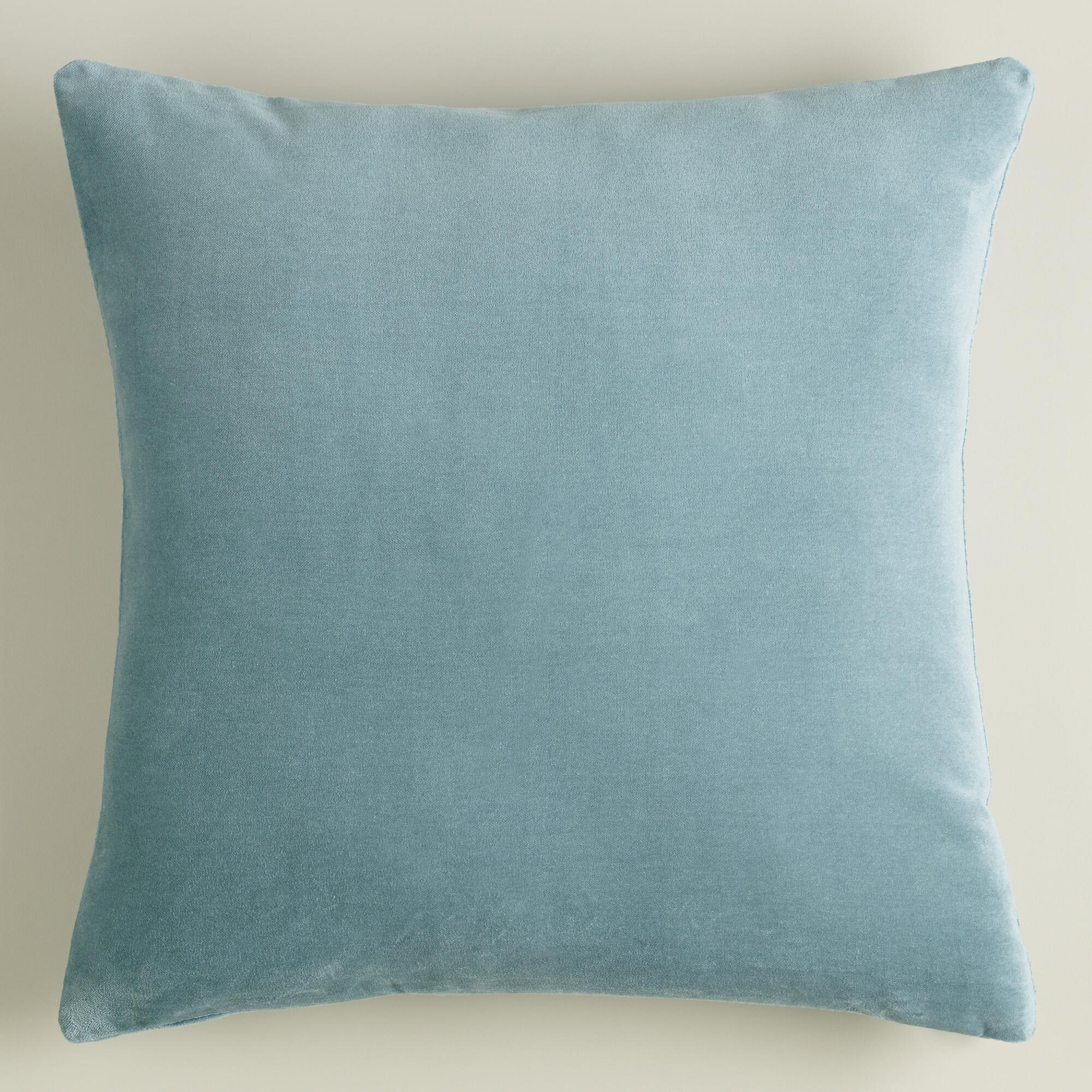 Throw Pillows Velvet : Steel Blue Velvet Throw Pillow World Market