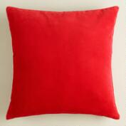 Poppy Red Velvet Throw Pillow