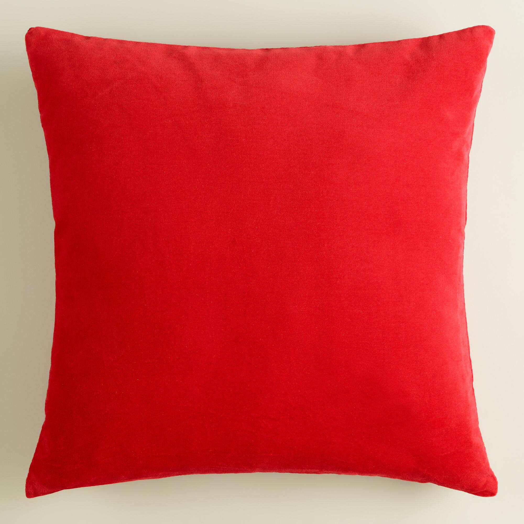 Throw Pillow Red : Poppy Red Velvet Throw Pillow World Market