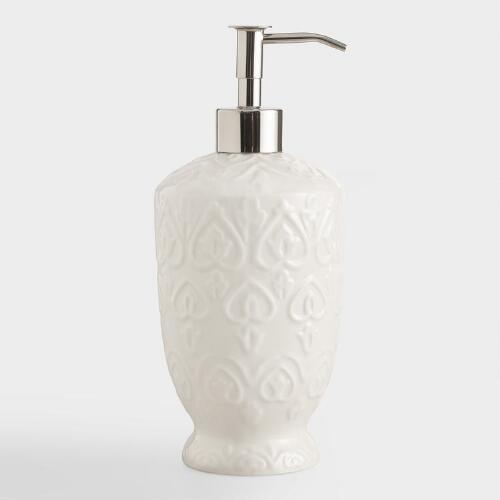 Ivory Embossed Ceramic Soap Dispenser