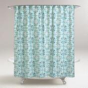 Blue Turquoise Tile Shower Curtain