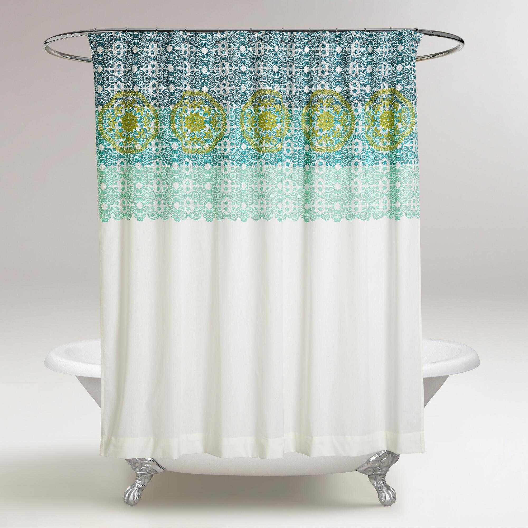 Blue And Green Iris Embroidered Shower Curtain World Market