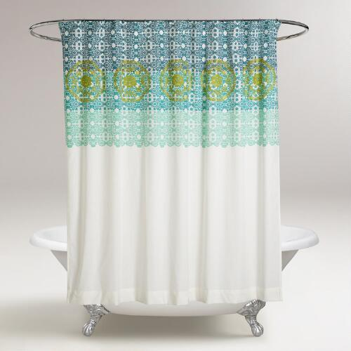 Blue and Green Iris Embroidered Shower Curtain