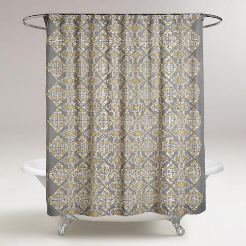 gray and yellow navya medallion shower curtain world market. Black Bedroom Furniture Sets. Home Design Ideas