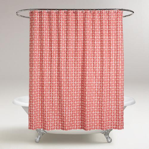Coral Geo Shower Curtain