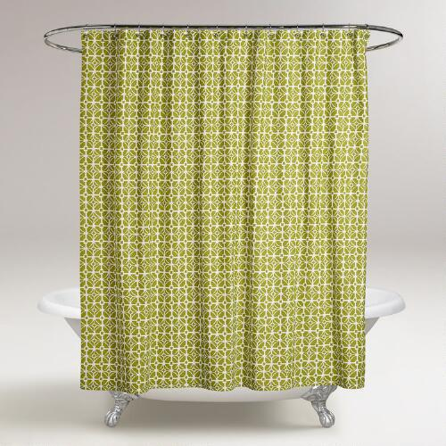 Oasis Green Geometric Shower Curtain