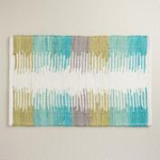 Turquoise Color Block Print Bath Mat