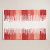 Coral Color Block Print Bath Mat