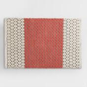 Coral and Frost Gray Chenille Diamond Bath Mat