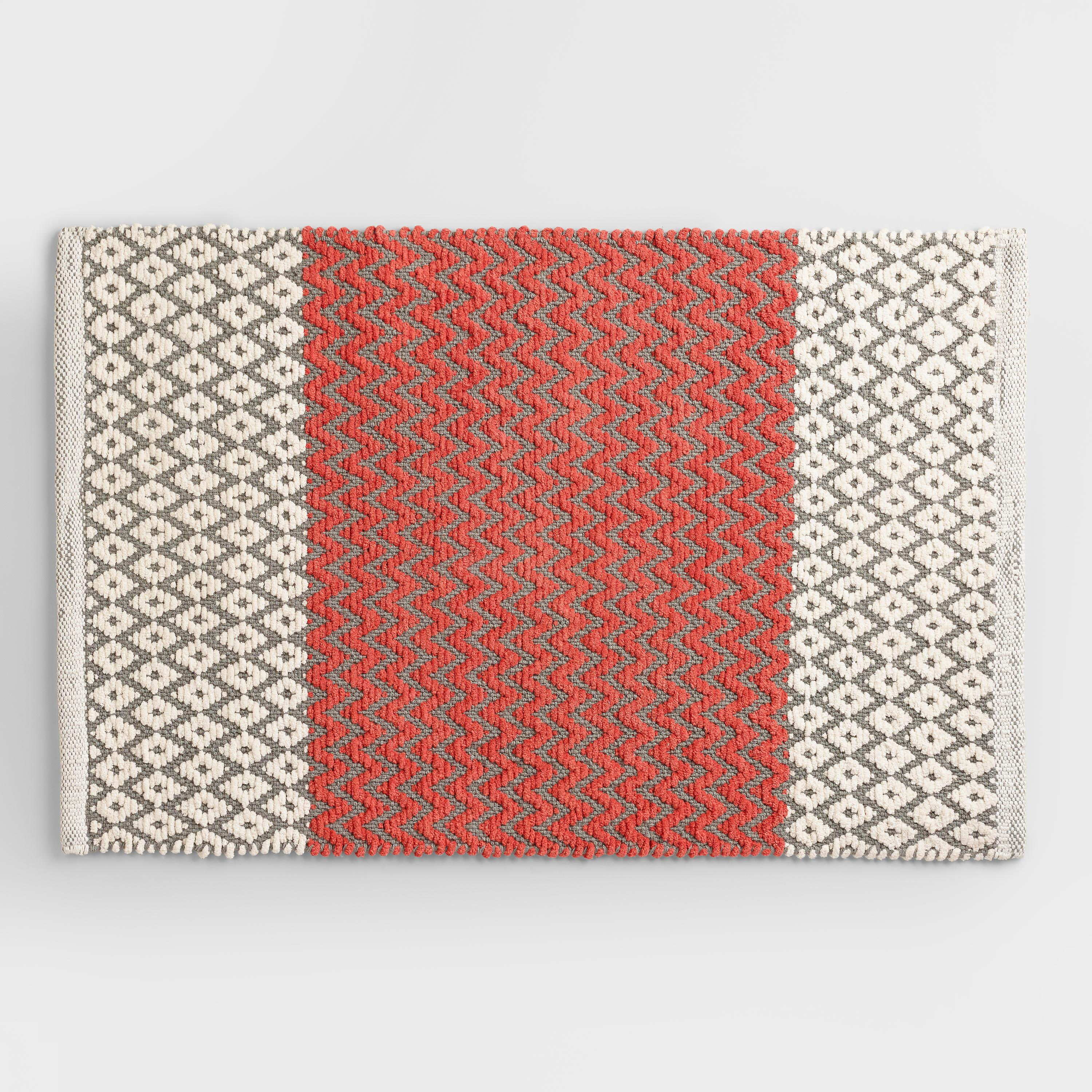 coral and frost gray chenille diamond bath mat red cotton by world market ebay. Black Bedroom Furniture Sets. Home Design Ideas