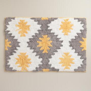 Yellow and Frost Gray Aztec Bath Mat