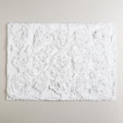 White Rosette Bath Mat