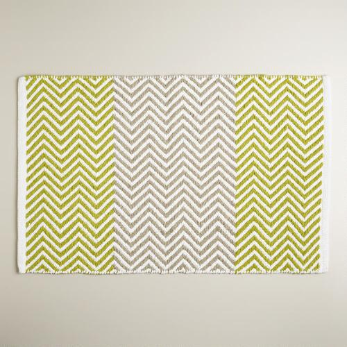 Oasis Green and Sand Chevron Bath Mat
