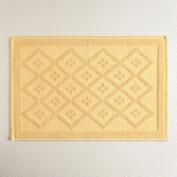 Cornsilk Yellow Woven Diamond Bath Mat