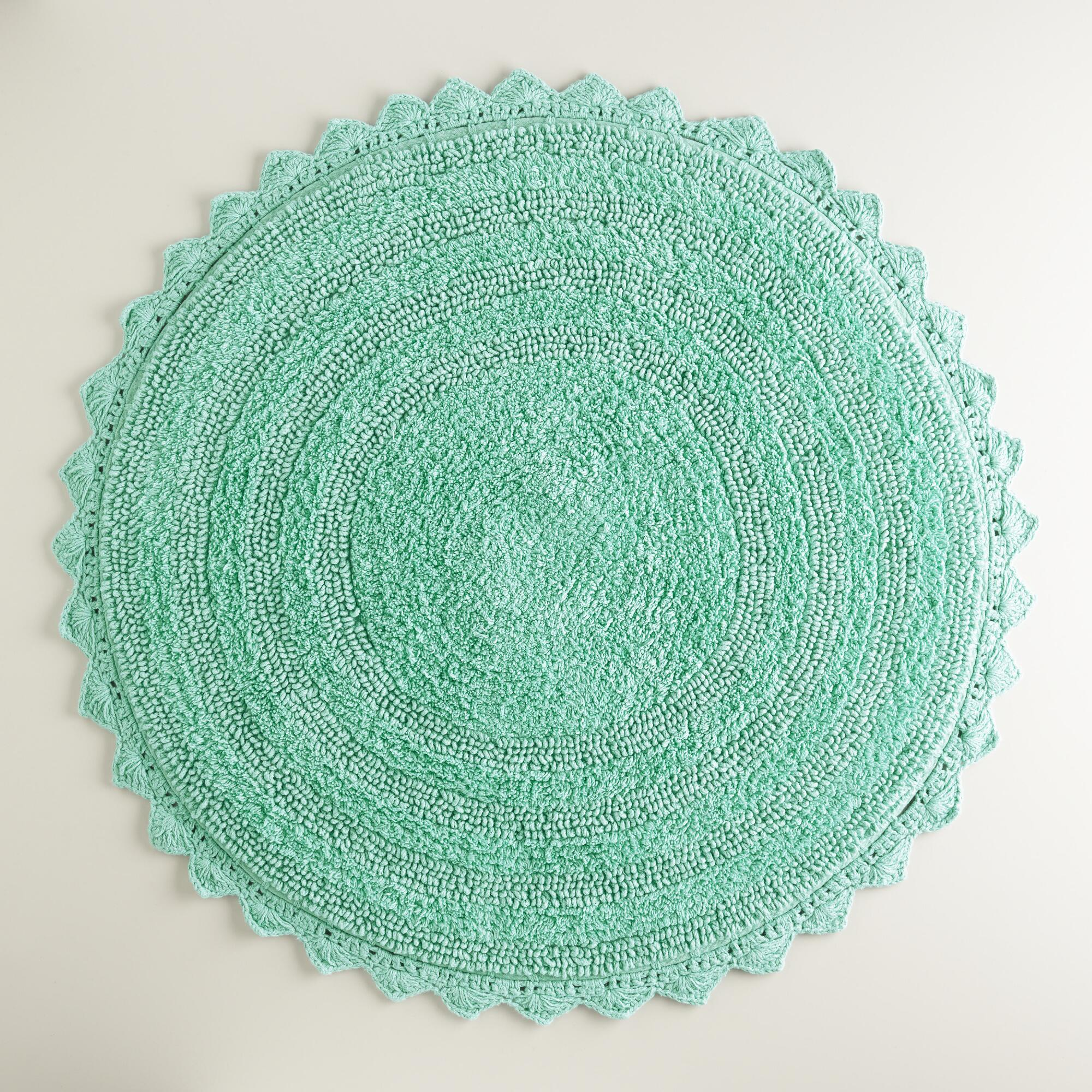 Sea Blue Round Bath Mat World Market