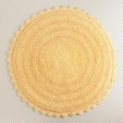 Cornsilk Yellow Round Bath Mat