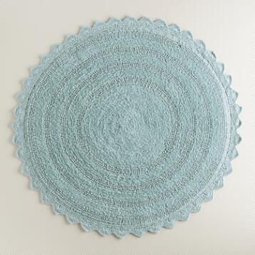 French Blue Round Bath Mat