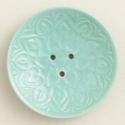 Sea Blue Embossed Ceramic Soap Dish