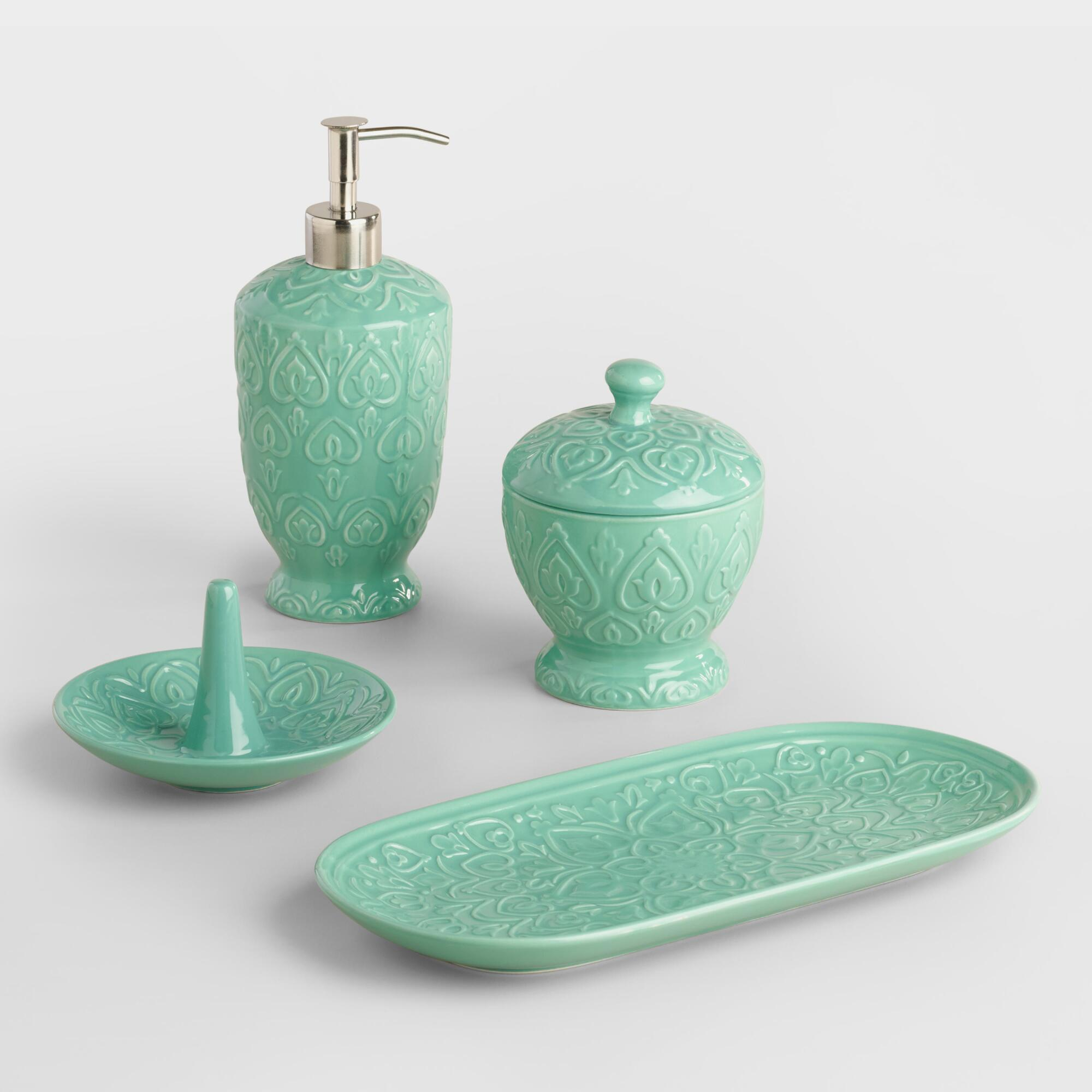 Sea blue embossed ceramic bath accessories collection for Green and grey bathroom accessories
