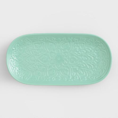 Sea Blue Embossed Ceramic Tray