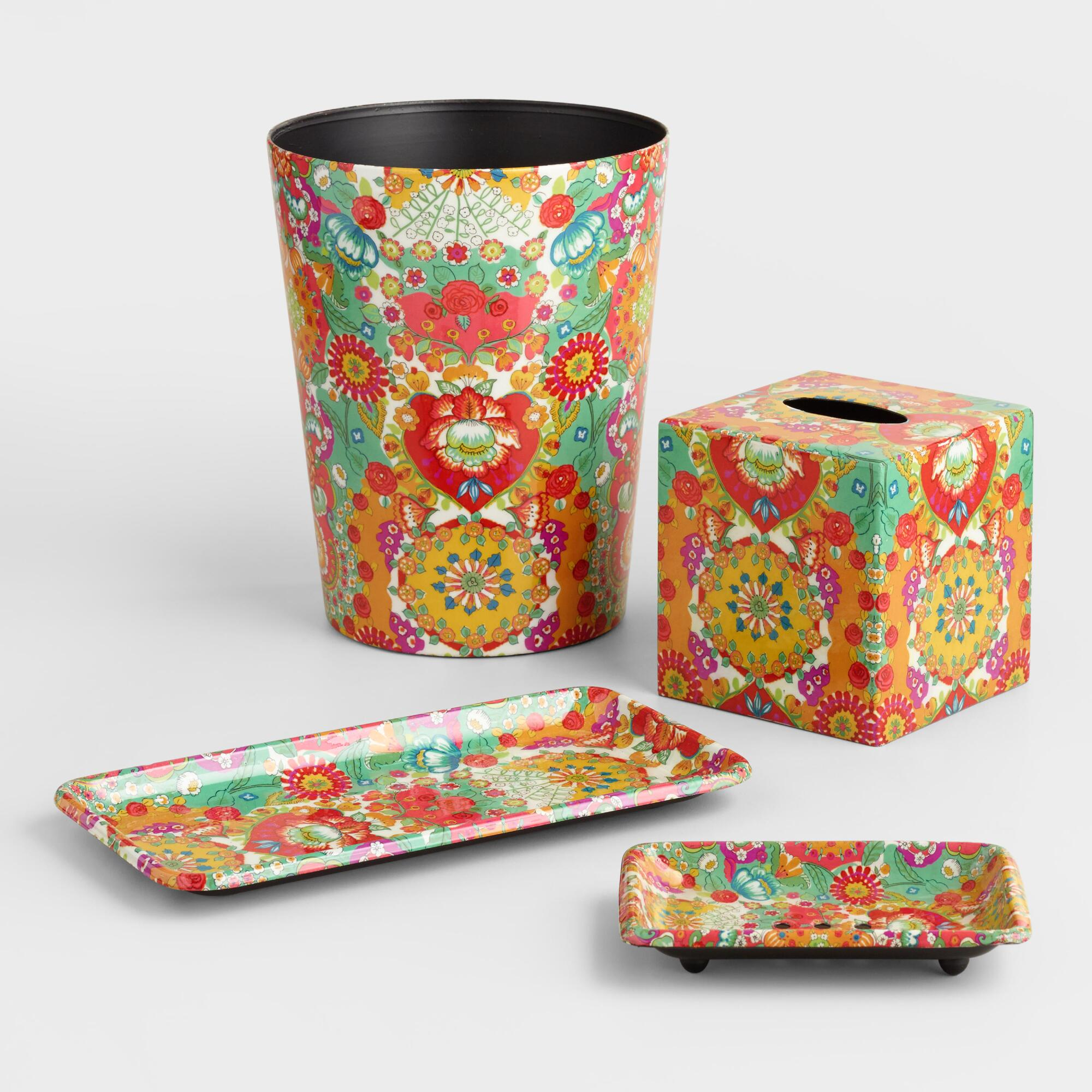 Bettina floral bath accessories collection world market for Floral bathroom accessories set